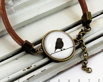 Leather bracelet, bird, brown, cognac, leather, cabochon, bracelet, black, white, retro, vintage, boheme, gift, girlfriend, light brown