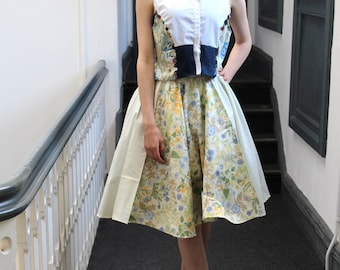 Handmade customised white shirt floral denim panel crop top