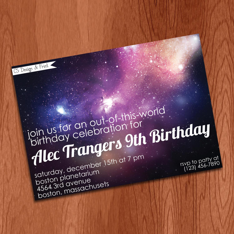 Space birthday party invitation stargazing party invitation for Space themed stationery