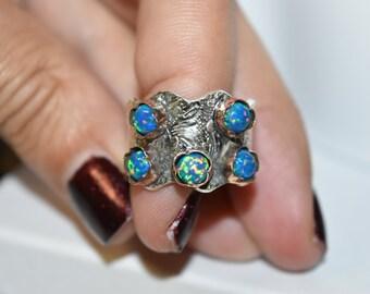 Black Opal Ring,Welo Opal Jewelry,Sterling Silver,Opal Jewelry,July Birthday Gift,Aqua Jewelry