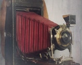Antique Kodak 3A Folding Camera , Vintage Eastman Kodak Junior No. 3A  Camera with Red Bellows