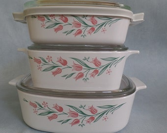 Vintage Rosemarie Corning Ware Casserole Set, Three Baking Dishes with Lids, Pink Tulips Green Leaves, Bake Ware