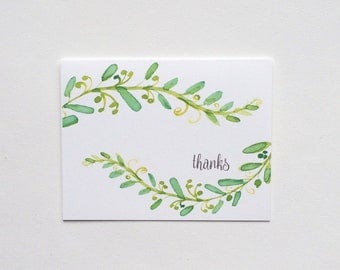 """Floral Green Vine """"thanks"""" Note Cards"""