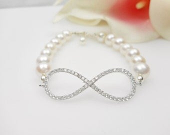 Free US Ship Cubic Zirconia And Pearl Infinity Bridal Bracelet AA Freshwater Pearl Infinity Bracelet Sterling CZ Pearl Infinity Bracelet