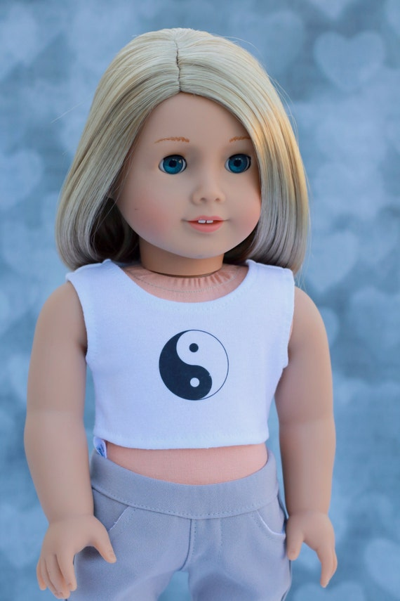 American Made Doll Clothes | Yin Yang CROP TANK TOP for 18 inch doll such as American Girl Doll