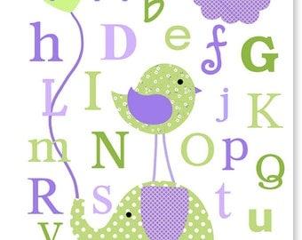 Alphabet Nursery Art, Purple and Green Nursery, Baby Girl Room Decor, Elephant Nursery Art, Children's Decor, Playroom Wall Art, Girl's Room