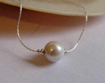 White 11mm Baroque EDISON Freshwater Cultured Pearl on Sterling Silver Cardano Chain
