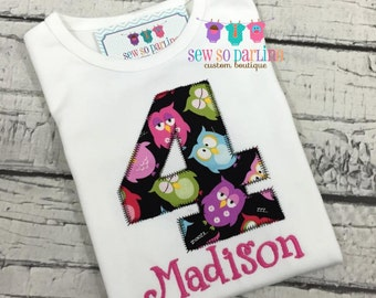 Baby girl Owl Birthday Shirt - Girl Owl Birthday Shirt - 1st Birthday Owl Shirt - Numbers 1-9 available