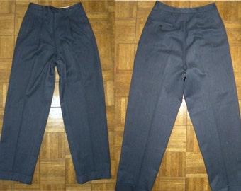 "1940's 50s Slacks / Hollywood Waist Drop Loop / Wool / Atomic Pants / Pleated / Long rise / Cuffs / Mens 28"" W x 31"" L"