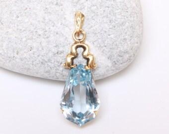 Antique Victorian briolette cut blue topaz and 14k gold pendant / Victorian topaz pendant / large pear cut topaz pendant /blue topaz pendant