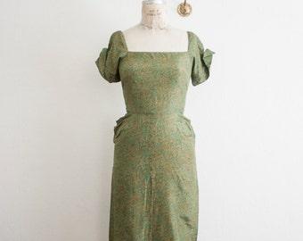 vintage 1950s sage wiggle dress