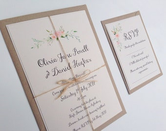 Rustic Floral Wedding Invitation. Boho flowers wedding invitation set