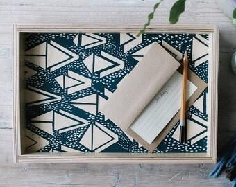 Vanity Tray - Decorative Tray - Coffee Table Tray - Navy and White Triangle Pattern on Wood Tray - Breakfast Tray - Bed Tray - Ottoman Tray