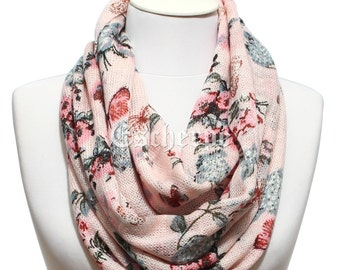 SALE Floral Butterfly Print Pink Knit Fabric Infinity Scarf Fall Winter Women Scarves Women's Fashion Accessories Gift Ideas For Her For Mom