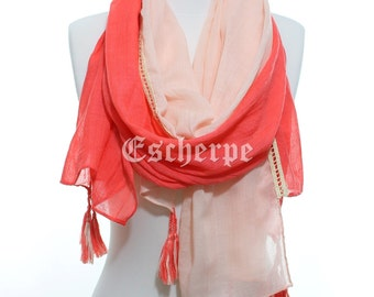 Coral Salmon Tassel Woman Scarf So Soft Lightweight Spring Summer Accessory Cotton Scarf Women Fashion Accessories Gift Ideas For Her Mom