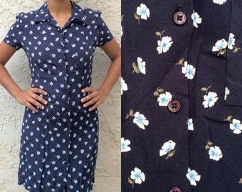 90s Floral Button Up Dress
