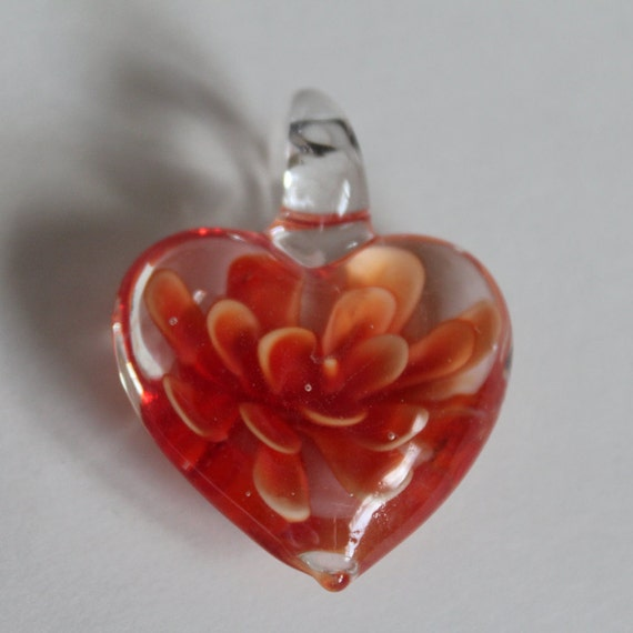 Heart Pendant, Lampwork Glass Heart Pendant,  Puffy Orange Heart