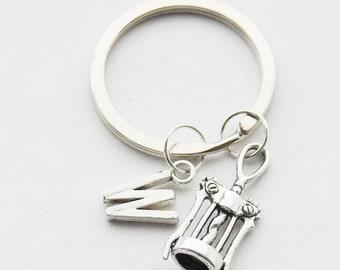 Corkscrew Keychain, Wine Keychain, Wine Lover Gift, Wine Keyring, Waitress Keychain, Corkscrew Key ring, Wine Gift, Hostess gifts, Key rings