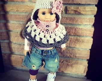 "18"" Doll Set-Shawl and Earflap Hat w/Flower"