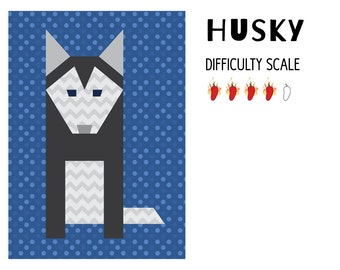 Husky paper pieced quilt pattern in PDF
