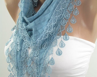 VALENTINES Day Gift Scarf Blue Scarf Cowl Scarf with Lace Gift ideas for her Bridesmaids Gifts Spring Summer Fall Winter Fashion Holiday Chr