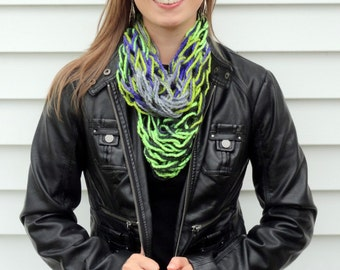 Purple, Black, Green Scarf - Knit Infinity Scarf - Infinity Scarf - Lightweight Scarf - Arm Knit Scarf - Fall Scarf - Light Scarf - Scarf
