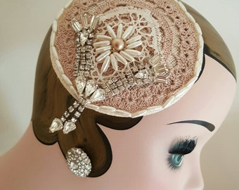 Vintage Taupe & Cream Rhinestone Headpiece
