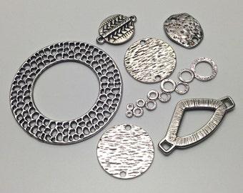7 mixed connectors antique silver   #CON076
