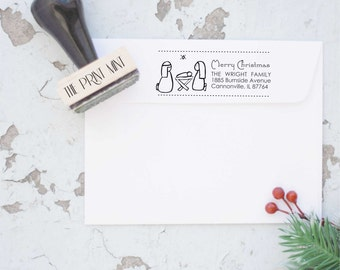 Christmas Return Address Stamp- Christmas Nativity Stamp,  Merry Christmas Stamp, Holiday Stamp, Custom Christmas Stamp 10220