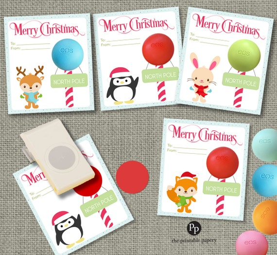 Holiday Christmas Cards Teacher Gift / Gift Tags For EOS Lip