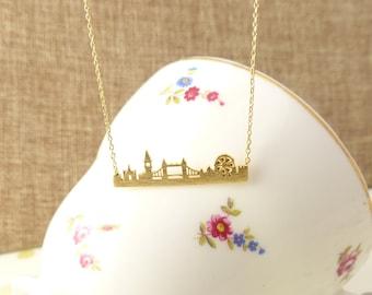 London city skyline bar necklace, london necklace/city necklace/anniversary gift/London bar necklace/Gift idea/back to school necklace