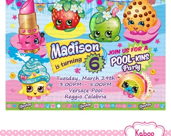 DIGITAL Shopkins Pool Birthday Party invitation - PRINT yourself - NOT being sent in the post