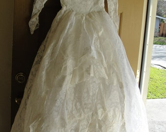 Vintage 1940s 1950s tulle and lace wedding dress gown small 3 40s 50s