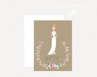 Bridal Shower Card, Wedding Dress Card, Beautiful Bride, Bride-to-be, Rustic Bridal Shower
