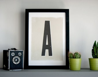 A-Z Initial Letter and 1-9 Number print - monogram print, letterpress type