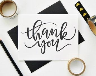 Thank You Card / Hand Lettered Card / Teacher Appreciation Card / A2 / Blank Inside / Charitable Donation