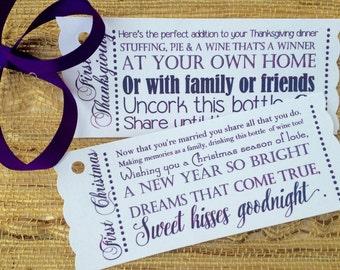 Wedding Gift Holiday Poem : Holiday Wine Poem Tags / Bridal Shower / Engagement / Wedding Gift