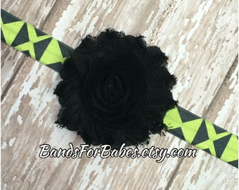 CLEARANCE Neon Yellow/Green and Black Shabby Chic Flower Headband, Baby Headband, Infant Bow, Toddler Headband, Girls Accessory, Hair Bow