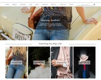 Blogger Template Premade Blog Theme MARSEILLE // Blogspot Design Modern Fashion Instant Download