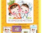 I Love the Carrot SO-4123 - Cross Stitch Pattern Leaflet SODA Stitch - Modern Cross Stitch Chart - Kawaii Couple - Easter XStitch