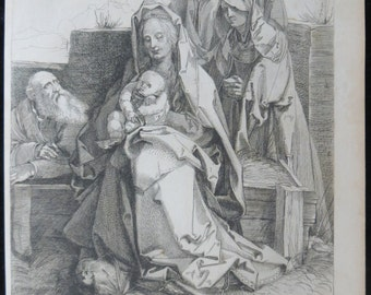 Original 1816 Etching The Holy Family After Albrecht Durer - Jesus, Mary And Joseph