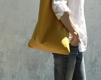 Leather Shoulder Bag/Large Leather Bag/Big Leather Hobo Bag/Slouch Bag