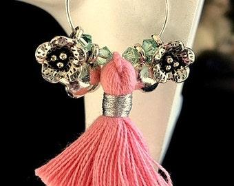 Coral/Pink Tassels and Sterling Silver Flowers Hoop Earrings - Choice of Colors