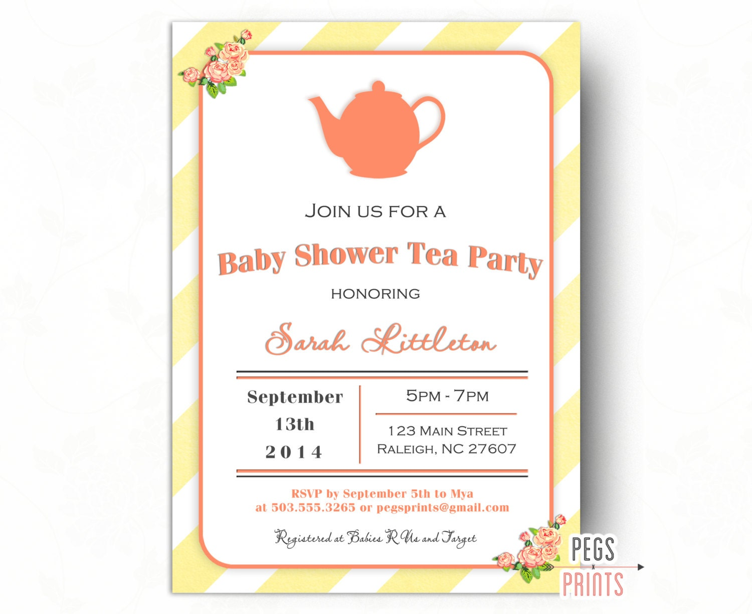 gender neutral baby shower tea party invitation printable