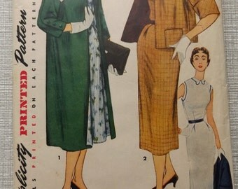 Sleeveless Dress and Lined Coat in Two Lengths in Size 16 All 13 Pieces Vintage 50s Simplicity Sewing Pattern 4604