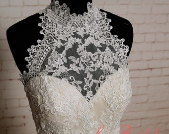 Special Lace Wedding Dress with High Collar Neck Sheath Style Wedding Dress with Champagne Lining Sleeveless Bridal Gown with Chapel Train