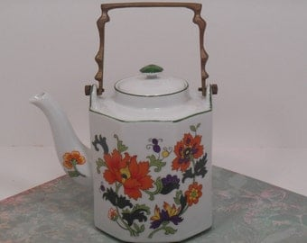 Dolphin Fine China Olympus Japan Porcelain Octagon Brass Handle Teapot, Japanese Teapot with Orange Poppies Purple Yellow Green Flowers
