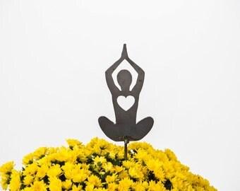 Yoga Lotus Pose Heart Garden Art Stake