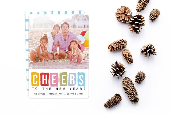 Cheers to the New Year Photo Card - Personalized to match your unique family photo - Free customization