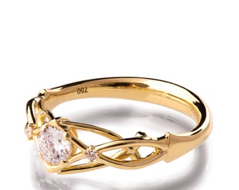 Celtic Engagement Ring, 18K Gold and Diamond engagement ring, Unique diamond ring, unique engagement ring, Knot ring, solitaire ring, 9